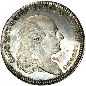 Karl XIII - Kastmynt till begravningen 1818 - Ett mycket toppexemplar med frostad relief