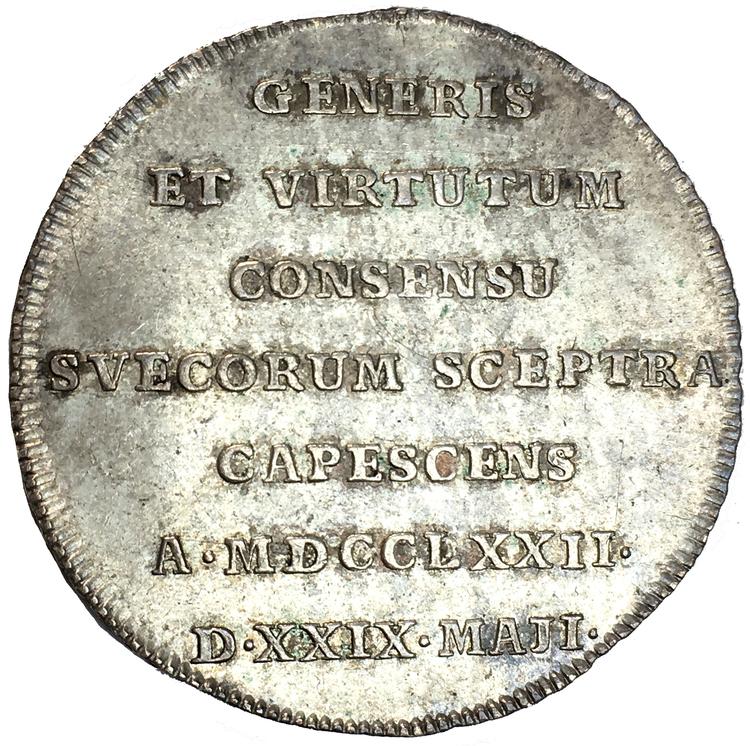 Gustav III - Kastmynt till kröningen 1772 - Ett mycket tilltalande exemplar
