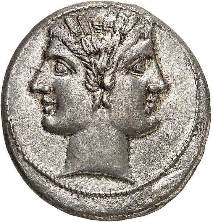 Romerska republiken, Didrachm Rom 225-214 f.Kr - VACKERT EXEMPLAR