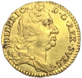 Fredrik I Guldmynt, 1/4 dukat 1733 - Vackert exemplar