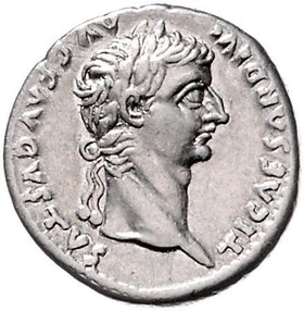 Romerska riket, Tiberius 14-37 e.Kr, Denar på stor plants i fin stil
