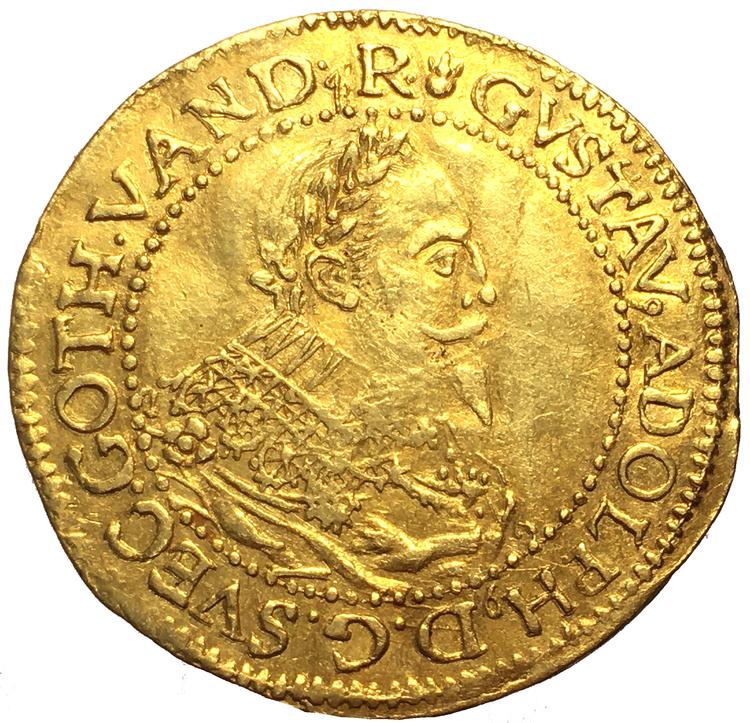 Gustav II Adolf, Erfurt dukat 1633 utan Myntmästarmärke - Ett tilltalande exemplar med mycket präglingsglans bevarad