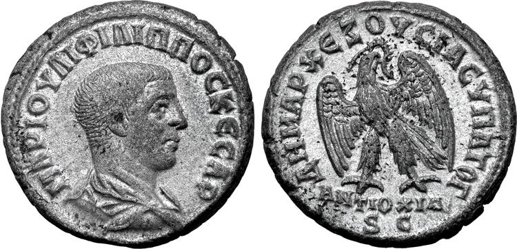 Romerska riket, Philip II som Caesar 247 e.Kr, Seleucis and Pieria, Tetradrachm - Tekniskt ocirkulerad och skarp med fin lyster