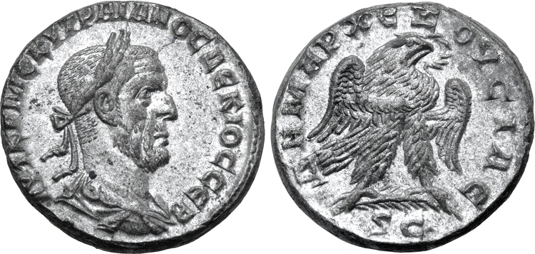 Romerska riket, Trajan Decius 249-250 e.Kr., Seleucis and Pieria, Tetradrachm - Tekniskt ocirkulerad och skarp med fin lyster