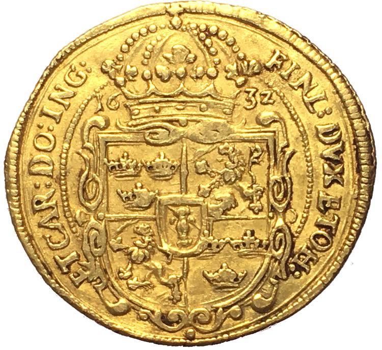 Gustav II Adolf, Nürnberg dukat 1632 - Kvalitet 1+/01, 3.45g, 22.70mm, SG 85 (SB4)