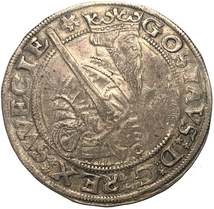 Gustav Vasa, Stockholm Mark 1557 med diamanter i kronan - bra porträtt