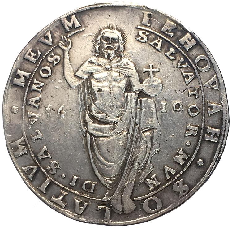 Karl IX - Riksdaler 1610 med omskriftvariant MEV-M/NOS
