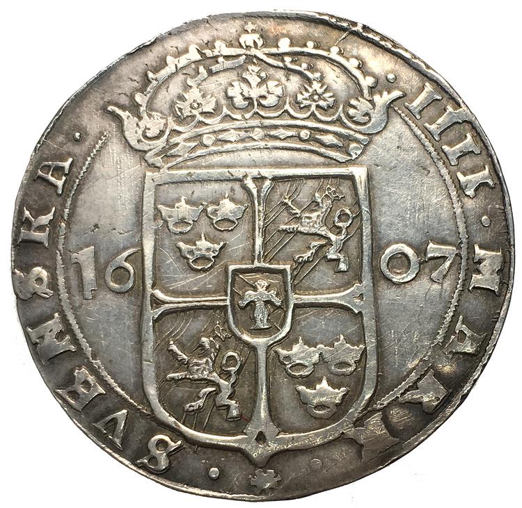 Karl IX - 4 Mark 1607 - Ett skarpt och välpräglat exemplar