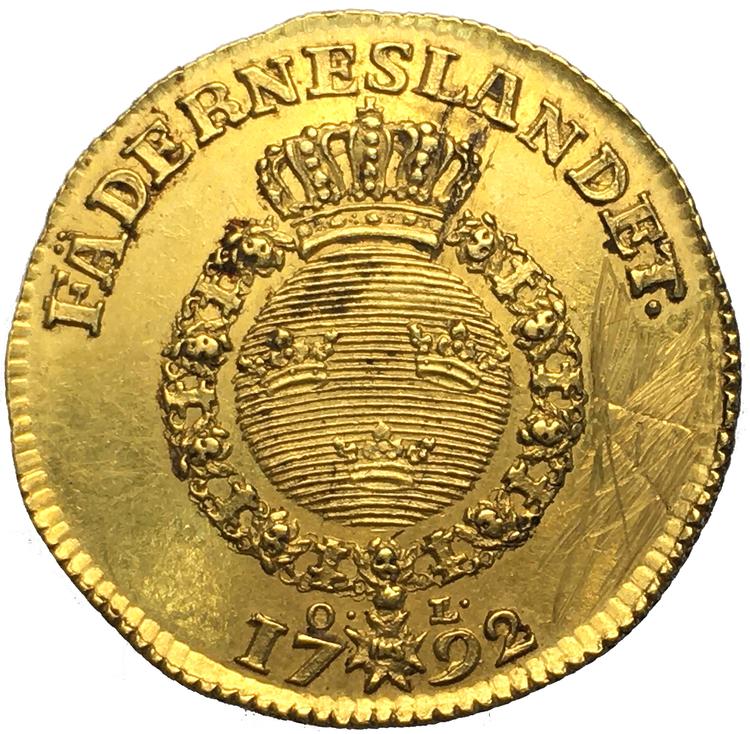 Gustav III Dukat 1792 - Endast 5 kända ex i privat ägo - RRR
