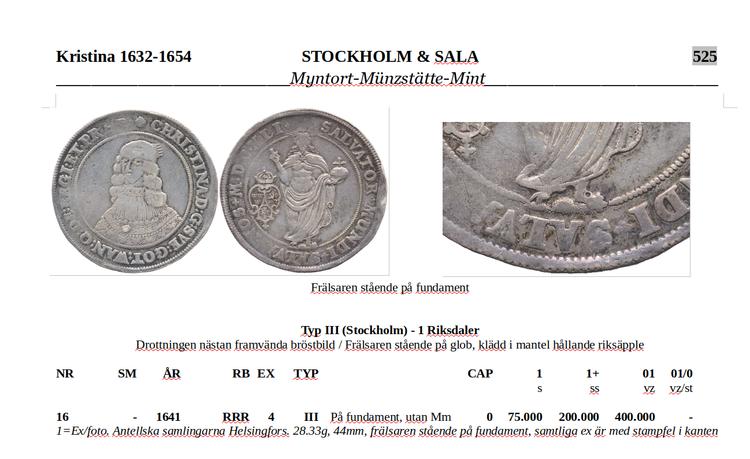 Riksdaler 1641 - Frälsaren på kulle RRR - Tidigare okänt typmynt - Knivskarpa detaljer