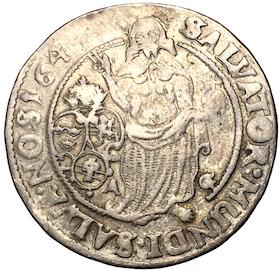 Kristina, 1/4 Riksdaler 1644 med grovt vävd mantel och stort AG nedtill - MYCKET RAR - RRR