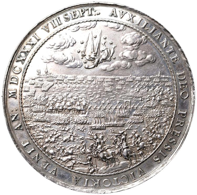 Gustav II Adolf - Pampig stor medalj med anledning avsegern vid Breitenfeld 1631 av Johann Sebastian Dadler (Dattler)