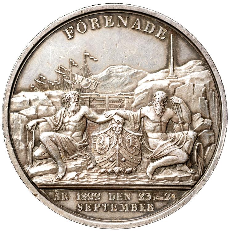 Karl XIV Johan - Öppnandet av Göta kanal 1822 graverad av H. Gube