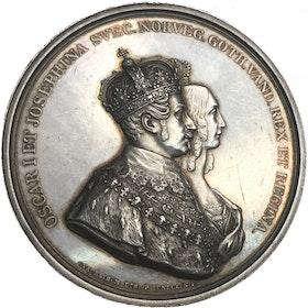 Oskar I:s och Josephinas kröning den 28 september 1844. YTTERST SÄLLSYNT - RR av Lundgren