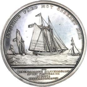 Oskar II - Kungaparets silverbröllop 1882 - MYCKET SÄLLSYNT graverad av Lea Ahlborn