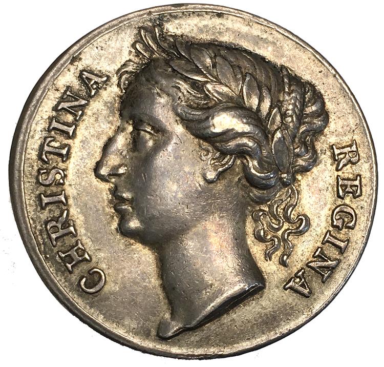 Sverige, Kristina 1632-1654, Kastpenning i silver, utan årtal (1650) till drottningens kröning, graverad av Erich Parise - MYCKET VACKERT EXEMPLAR