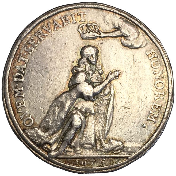 Karl XI:s kröning 1675 - Medalj/kastmynt av Arvid Karlsteen