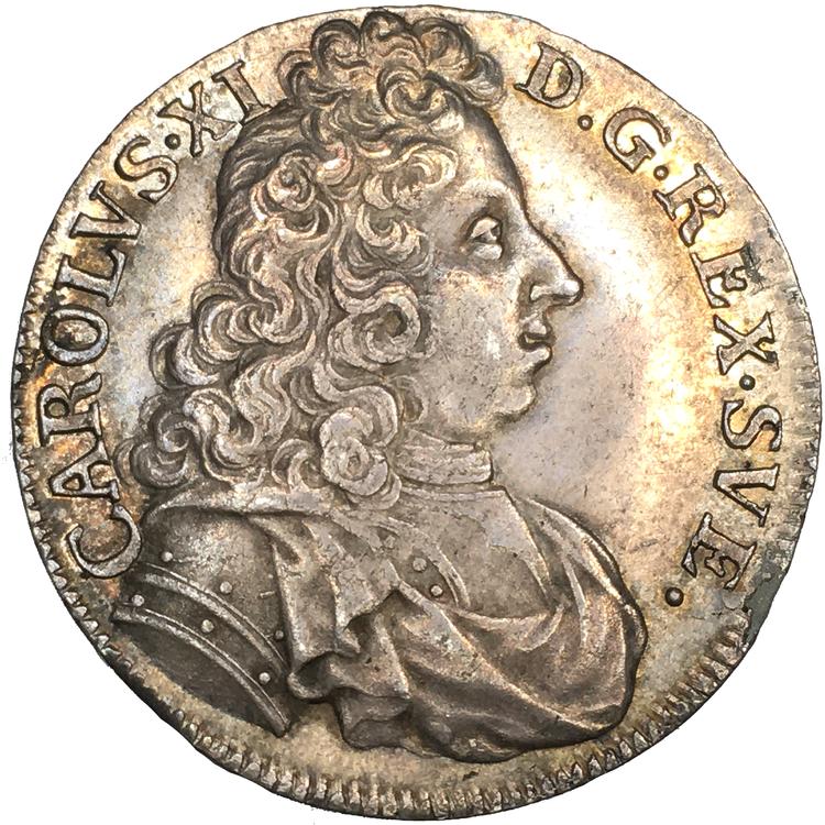 Karl XI - 2 mark 1697 - Kastmynt till konungens begravning - PRAKTEXEMPLAR - Ett av de bästa exemplaren!