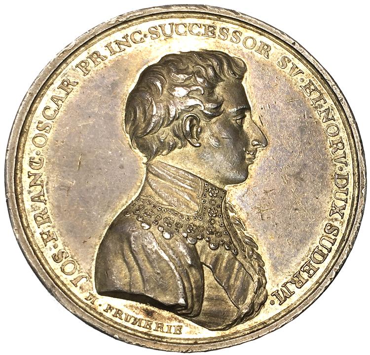 Kronprins Oskar I blir Kungliga Vetenskapsakademins beskyddare 1818 av Mauritz Frumerie