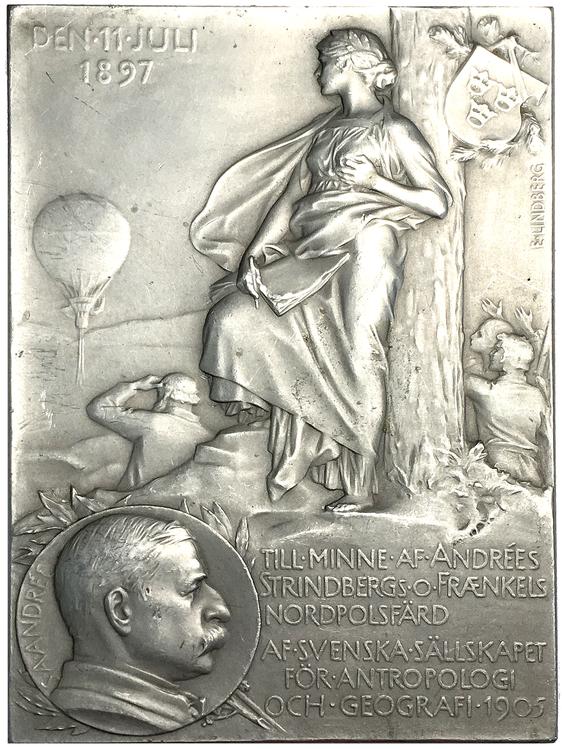 Polarforskare Salomon August Andrée 1854-1897  - provavslag i aluminium - UNIK - tidigare okänd och obeskriven i litteraturen av Erik Lindberg