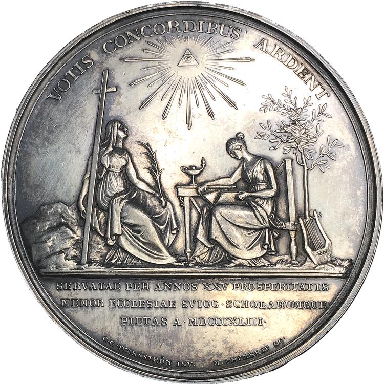 Karl XIV Johan, Konungens 25-åriga regeringsjubileum den 5 feb 1843 av Mauritz Frumerie - sällsynt i silver