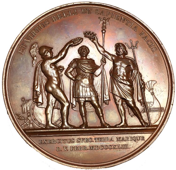 Karl XIV Johan, Konungens 25-åriga regeringsjubileum den 5 feb 1843 av Ludvig Persson Lundgren - sällsynt i silver