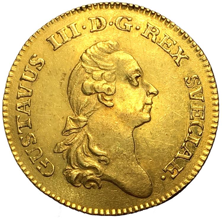 Gustav III Dukat 1782 på 79 - Endast 16 kända exemplar i privat ägo - VACKERT EXEMPLAR