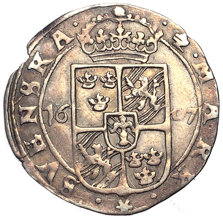 Karl XI - 1/2 Mark 1607 - Tilltalande exemplar