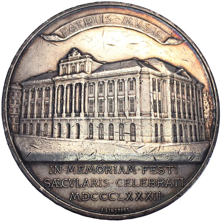 Gamla operahusets 100-årsminne i Stockholm - Stor pampig silvermedalj av Adolf Lindberg