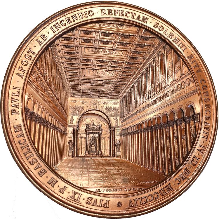 Pius IX - Invigningen av S:t Pauls basilika 1854 av Ignazio Bianchi - PRAKTMEDALJ