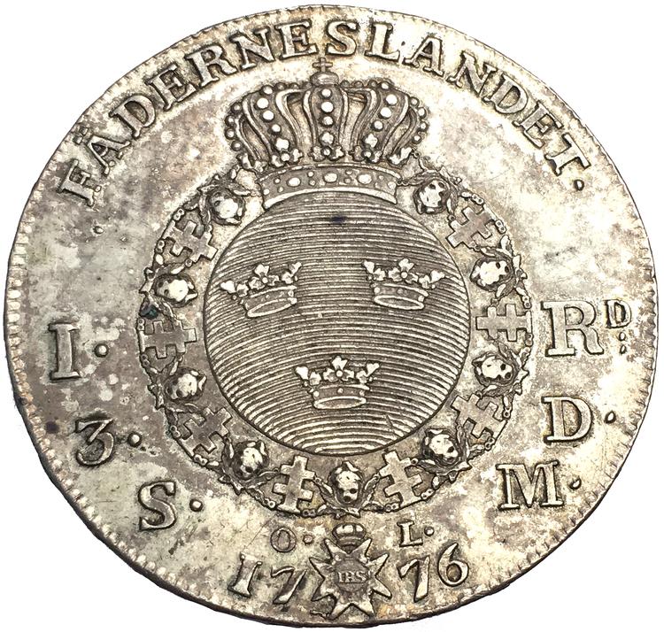 Gustav III - Riksdaler 1776 Tilltalande exemplar - Litet kors i kronan