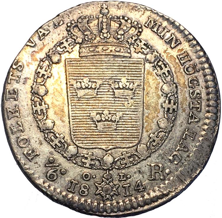 Karl XIII - 1/6 Riksdaler 1814