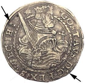 Gustav Vasa Svartsjö Mark 1546 med interpunktion av rosor som kolon på åt- och frånsidan RRR