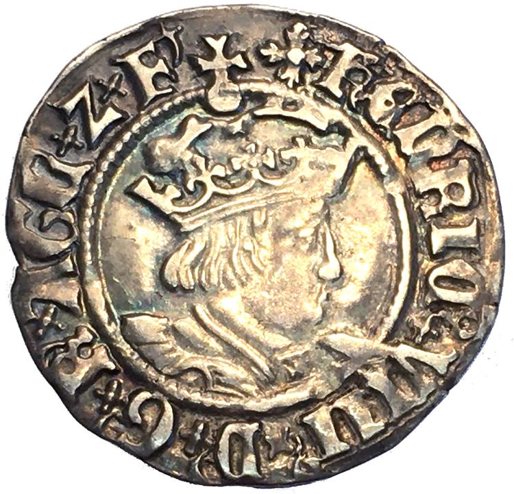England, Henrik VIII 1509-1547, Half Groat PRAKTEXEMPLAR för typen