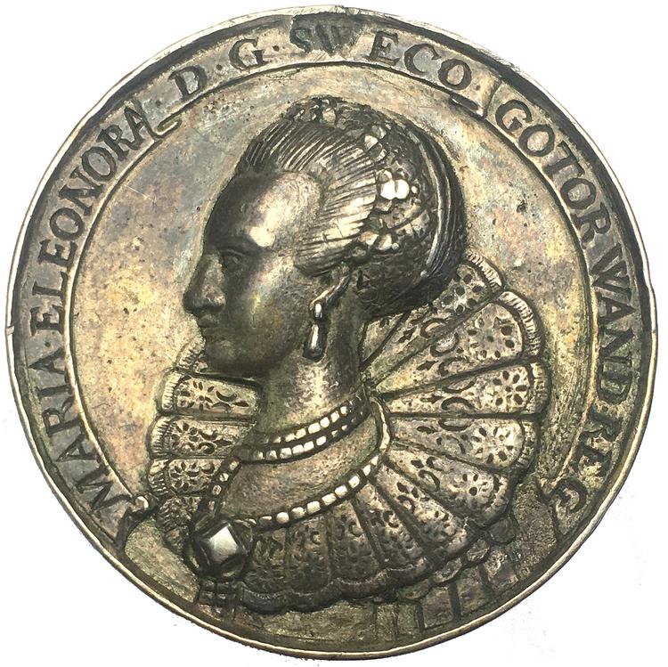 Gustav II Adolf och Maria Eleonora förgylld minnespenning 1632