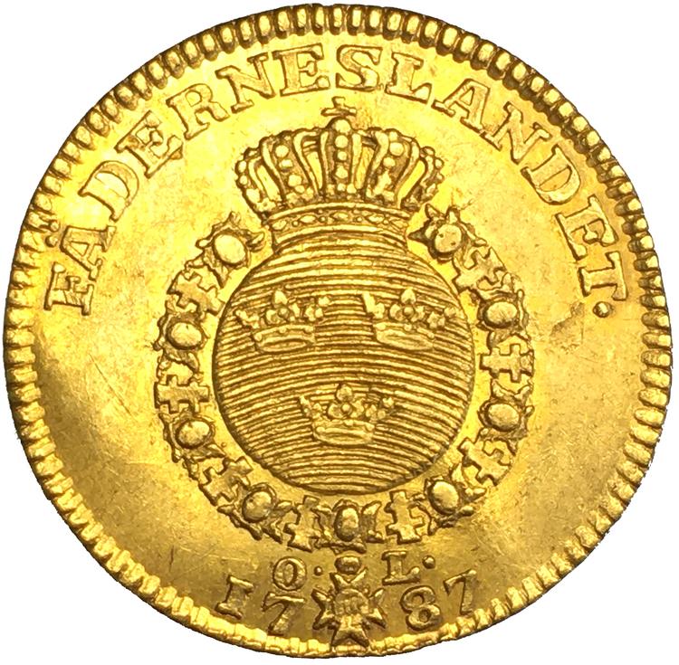 Gustav III, Dukat 1787  Endast 11 exemplar i privat ägo - Trevligt exemplat