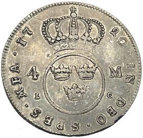 Ulrika Eleonora 4 Mark 1720 - Sällsynt typmynt i vacker kvalitet