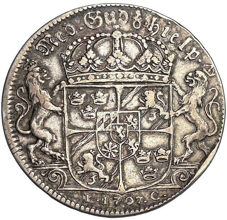 Karl XII - Riksdaler 1707 med peruk - Ett sällsynt och tilltalande typmynt