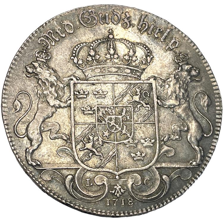 Karl XII - Riksdaler 1718 Hedlingers porträtt - Mycket vackert exemplar