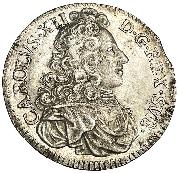 Karl XII - 2 Mark 1703 - Ocirkulerad med underbar lyster