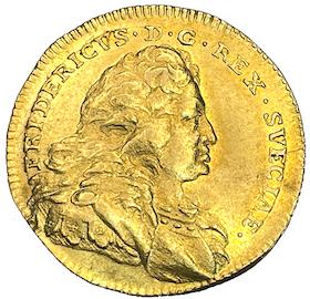Fredrik I - Dukat 1747 med FRIDERICVS - 6 kända exemplar i privat ägo - RR