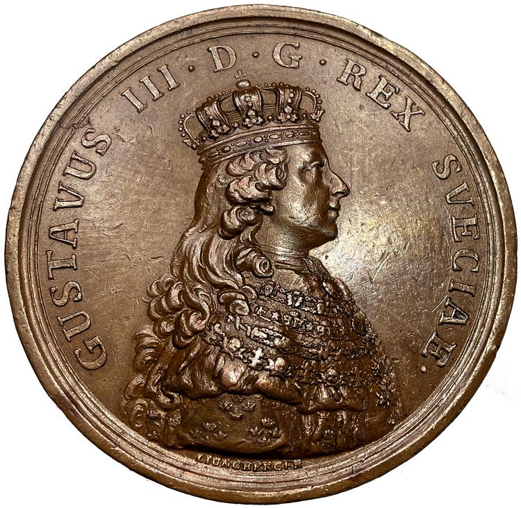 Sverige, Gustav III 1771 - 1792, Medalj till konungens kröning 1772 av Liungberger - RAR i Brons