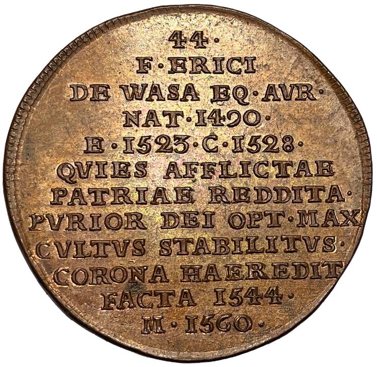 Gustav Vasa - Hedlingers regentlängd av Johann Carl Hedlinger - OCIRKULERAT TOPPEXEMPLAR