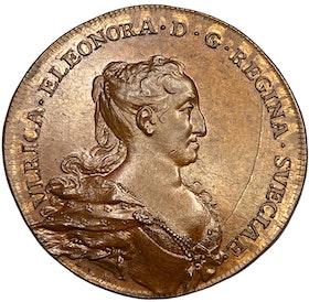 Ulrika Eleonora - Hedlingers regentlängd graverad av Johann carl Hedlinger - Vackert Toppexemplar