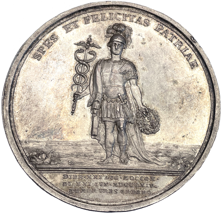 Karl XIV Johan - KRONPRINSENS BESÖK I ÖREBRO 1814 - Ett vackert ocirkulerat exemplar graverat av Carl Enhörning