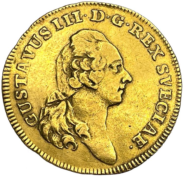 Gustav III, dukat 1774 med Fehrmans porträtt - Endast 2 kända exemplar i privat ägo - RRRR - Pris på förfrågan!