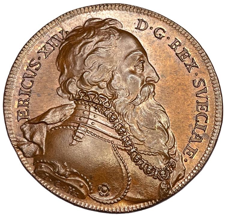 Erik XIV - Hedlingers regentlängd graverad av Johann carl Hedlinger - Vackert Toppexemplar