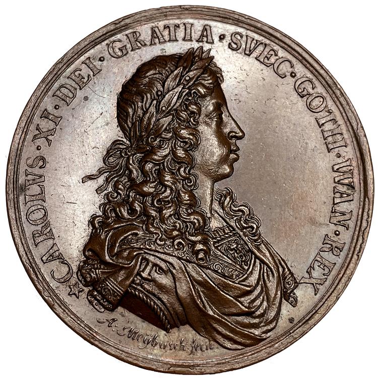 Karl XI rider sin Eriksgata 1673 av Anton Meybusch - MYCKET OVANLIG och i vackert skick