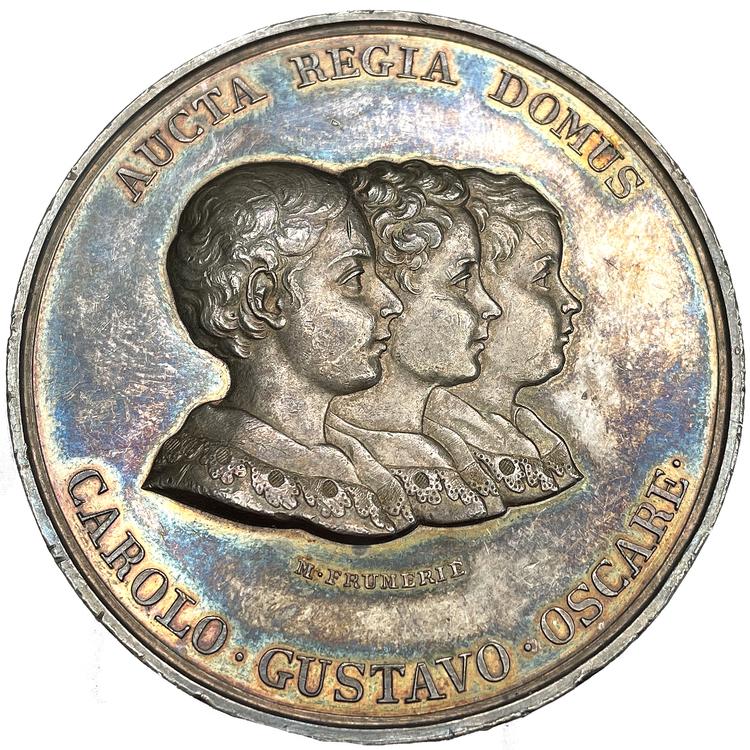 Karl XIV Johan - Kungahusets tillväxt 1829 av Maritz Frumerie - MYCKET SÄLLSYNT - RR