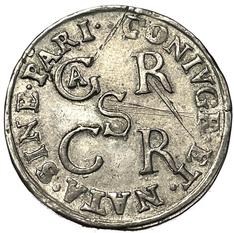 Maria Eleonora - 2 mark 1655 - kastmynt till änkedrottningens begravning - MYCKET SÄLLSYNT